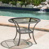 Outdoor Coastal Gray Wicker Side Table with Tempered Glass Top - NH725692