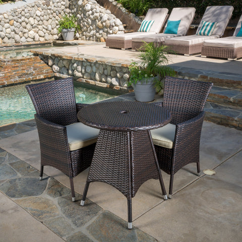 Outdoor 3pc Multibrown Wicker Bistro Set - NH058592