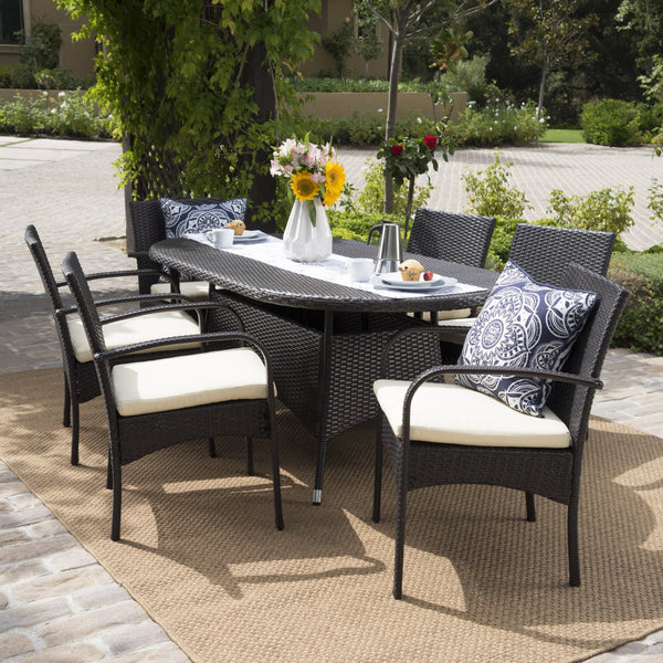 Outdoor 7pc Multibrown PE Wicker Long Dining Set - NH758592
