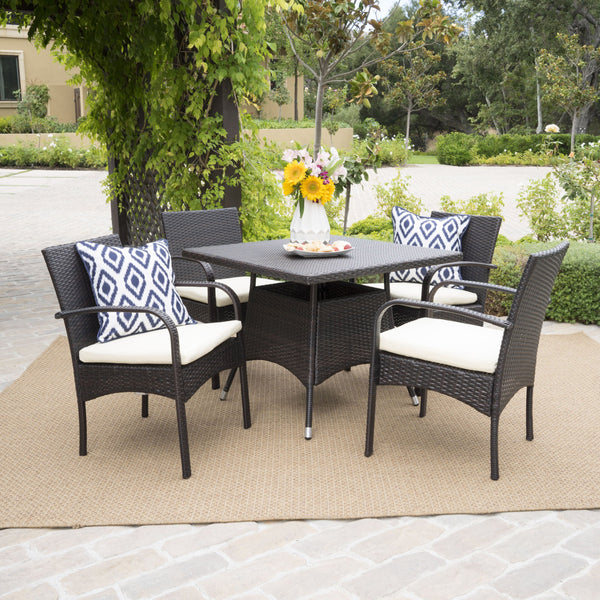 Outdoor 5pc Multibrown PE Wicker Square Dining Set - NH858592