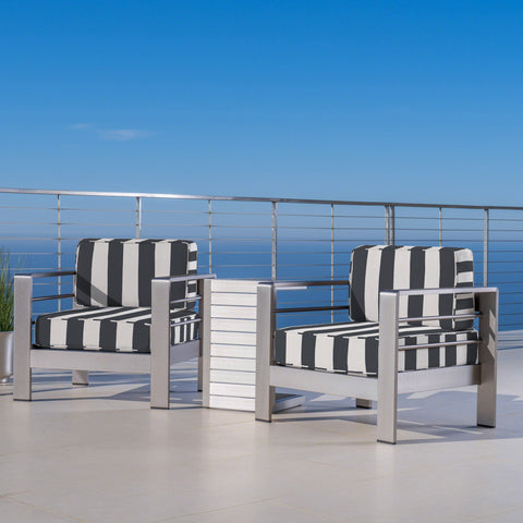 Outdoor Aluminum Club Chairs and Side Table Set with Cushions, Silver and Cabana Classic Sunbrella (Optional Sunbrella Cushions) - NH667403
