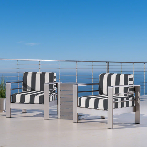 Outdoor Aluminum Club Chairs and Faux Wood Side Table Set with Cushions, Silver and Cabana Classic Sunbrella (Optional Sunbrella Cushions) - NH467403