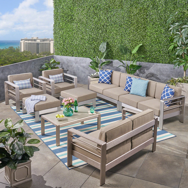 Outdoor Aluminum 8-Seater Sectional Sofa Set with Coffee Table and Ottomans, Silver and Khaki - NH643603