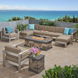 Outdoor 7 Seater Extended Aluminum Chat Set with Fire Pit - NH968903