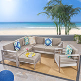 Outdoor Aluminum 6-Seater V-Shaped Sectional Sofa Set with Ottoman - NH443603