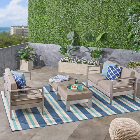 Outdoor 4-Seater Aluminum Loveseat and Ottoman Set, Silver and Khaki - NH543603