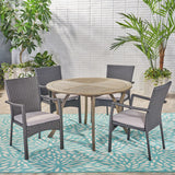 Outdoor 5 Piece Acacia Wood and Wicker Dining Set - NH020503