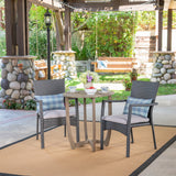 Outdoor 3 Piece Wood and Wicker Bistro Set, Gray and Gray - NH861503