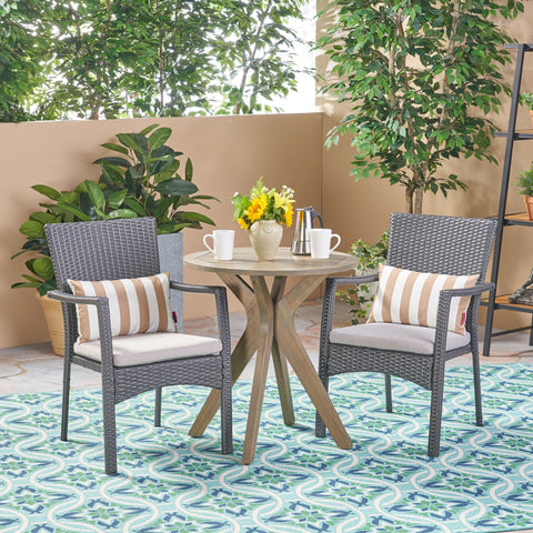 Outdoor 3 Piece Acacia Wood and Wicker Bistro Set - NH730503