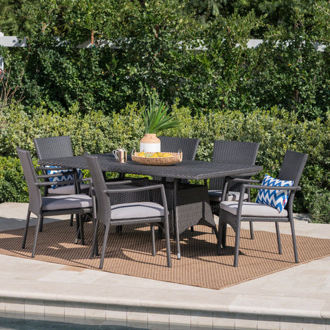 Grey Wicker 7 Piece Rectangular Dining Set - NH565003