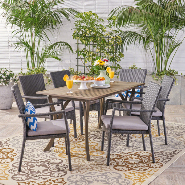 Outdoor 7 Piece Wood and Wicker Dining Set, Gray and Gray - NH621503