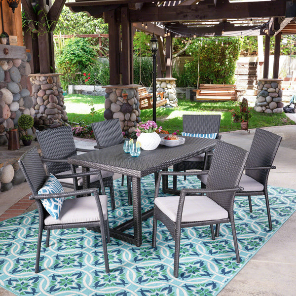 Outdoor 7 Piece Wicker Dining Set, Grey with Grey Cushions - NH037403