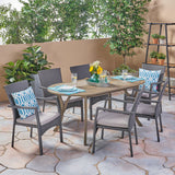 Outdoor 7 Piece Wood and Wicker Dining Set, Gray Finish and Gray - NH172503