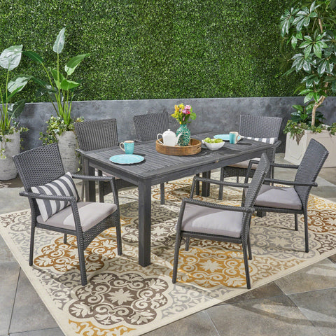 Outdoor 7 Piece Wood and Wicker Expandable Dining Set - NH954503