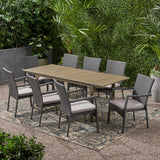 Outdoor 8 Seater Expandable Wood and Wicker Dining Set, Gray - NH586903
