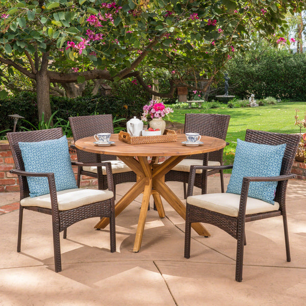 Outdoor 5 Piece Brown Wicker Dining Set with Teak Finish Acacia Wood Circular Table and Crème Water Resistant Cushions - NH670403