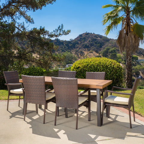 7 Piece Outdoor Dining Set (Wood Table w/ Wicker Chairs) - NH734892