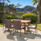 7 Piece Outdoor Dining Set (Wood Table w/ Wicker Chairs) - NH534892