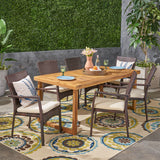 Outdoor 6-Seater Acacia Wood Dining Set with Wicker Chairs, Sandblast Natural Finish and Multi Brown and Beige - NH570603