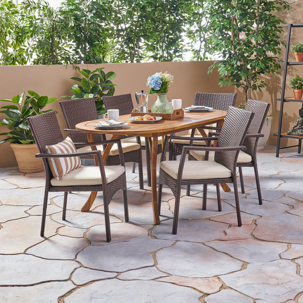 Outdoor 7 Piece Acacia Wood and Wicker Dining Set, Teak with Brown Chairs - NH620503