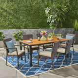 Outdoor 7 Piece Acacia Wood Dining Set with Wicker Chairs, Teak and Brown and Cream - NH537503
