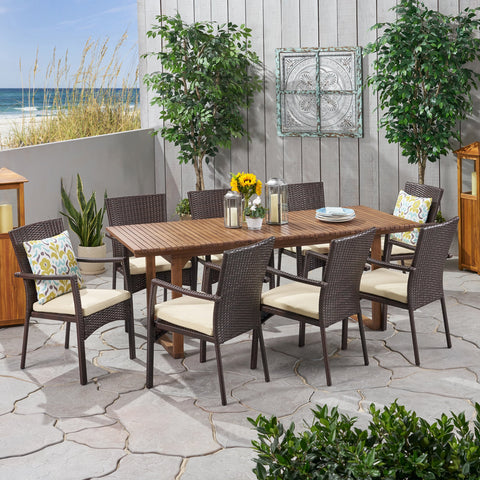 Outdoor 8 Seater Expandable Wood and Wicker Dining Set - NH286903