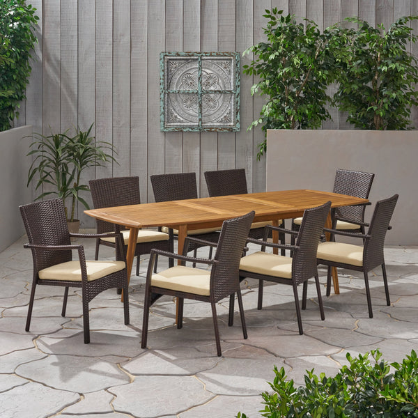 Outdoor Wood and Wicker Expandable 8 Seater Dining Set - NH416903