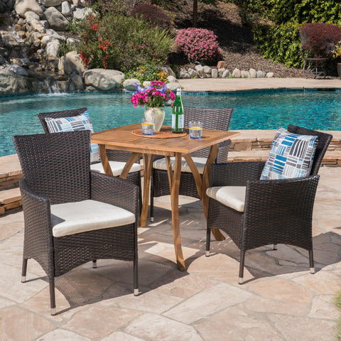 Outdoor 5 Piece Acacia Wood/ Wicker Dining Set with Cushions, Teak Finish and Multibrown with Beige - NH603403