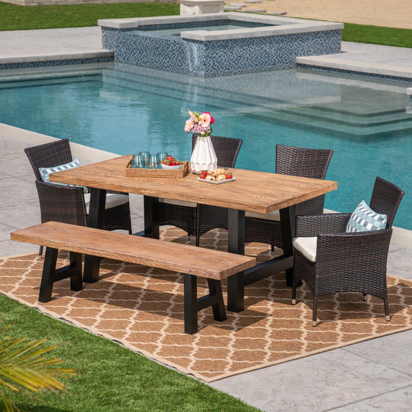 Outdoor 6 Seater Wicker & Concrete Dining Set With Bench - NH197303