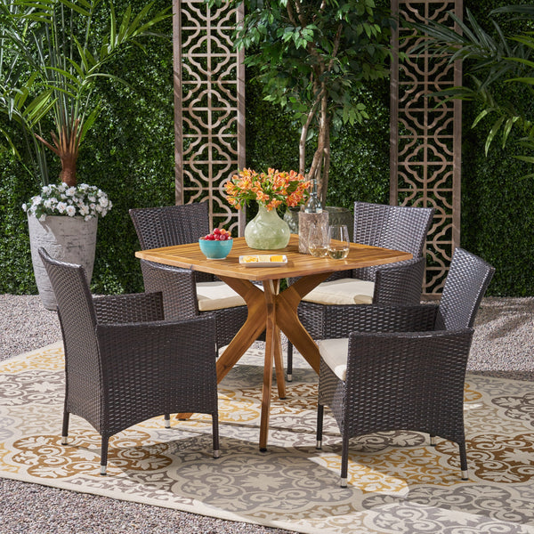Outdoor 5 Piece Wood and Wicker Dining Set - NH291503