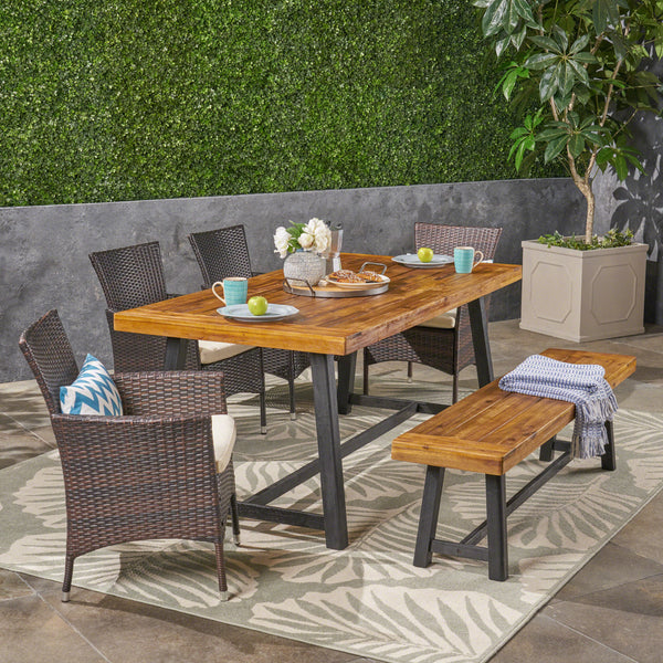 Outdoor 6 Piece Dining Set with Stacking Wicker Chairs and Bench, Sandblast Teak and Black and Multi Brown - NH152603