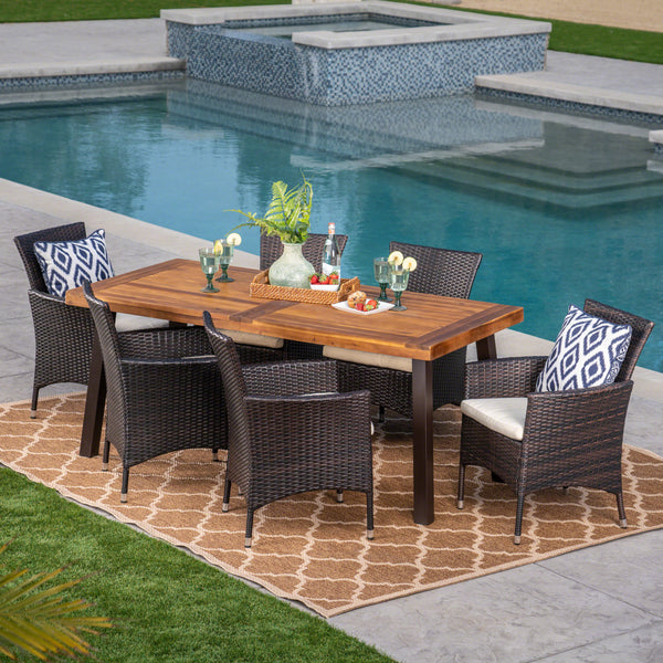 Outdoor 7 Piece Acacia Wood/ Wicker Dining Set with Cushions, Teak Finish and Multibrown with Beige - NH213403