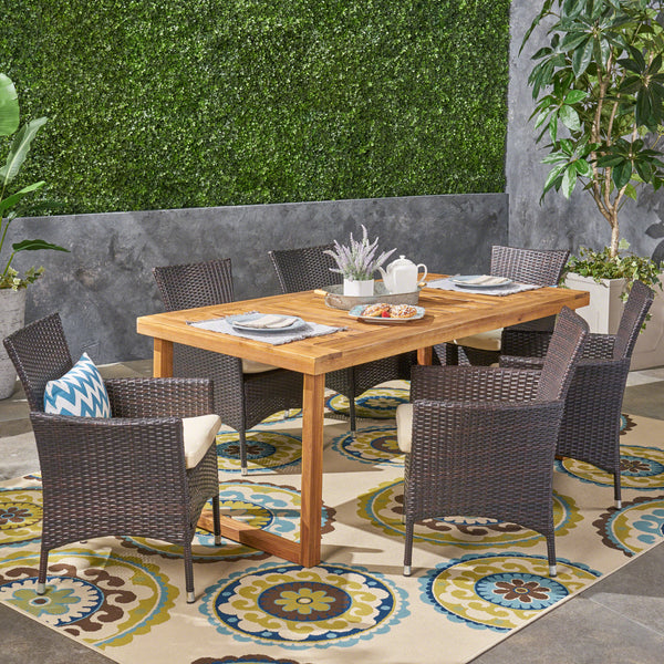 Outdoor 6-Seater Acacia Wood Dining Set with Wicker Chairs, Sandblast Natural Finish and Multi Brown and Beige - NH370603