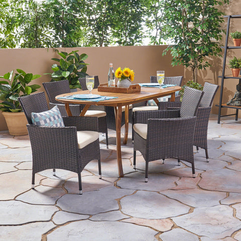 Outdoor 7 Piece Acacia Wood and Wicker Dining Set, Teak with Multi Brown Chairs - NH520503