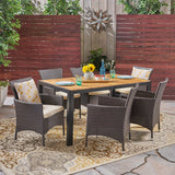 Outdoor 6-Seater Rectangular Acacia Wood and Wicker Dining Set, Teak with Black and Multi Brown with Beige - NH703603