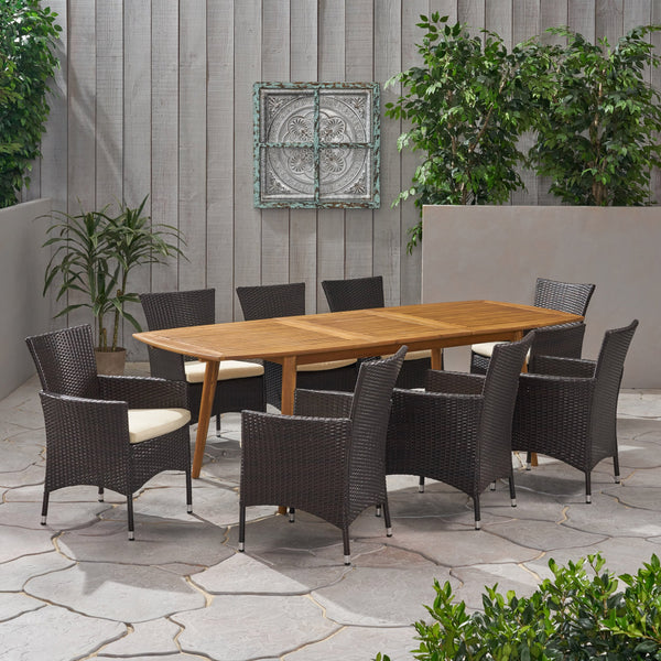 Outdoor Wood and Wicker Expandable 8 Seater Dining Set - NH216903