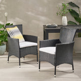 Outdoor Wicker Dining Chairs with Water Resistant Cushions - Set of 2 - NH203303