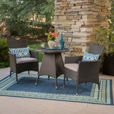 Outdoor 3 Piece Wicker Bistro Set, Grey with Silver Cushions - NH027403