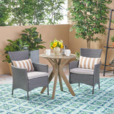 Outdoor 3 Piece Acacia Wood and Wicker Bistro Set - NH830503