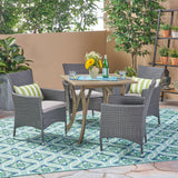 Outdoor 5 Piece Wood and Wicker Square Dining Set, Gray and Gray - NH912503