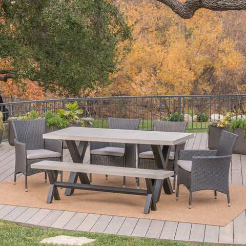 Outdoor 6 Piece Grey Wicker Dining Set - NH883303