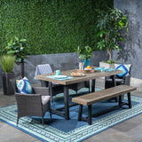 Outdoor 6 Piece Dining Set with Wicker Chairs and Bench - NH052603