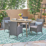 Outdoor 5 Piece Wood and Wicker Dining Set - NH162503