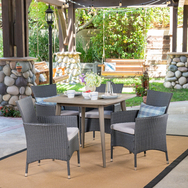 Outdoor 5 Piece Wood and Wicker Dining Set, Gray and Gray - NH021503