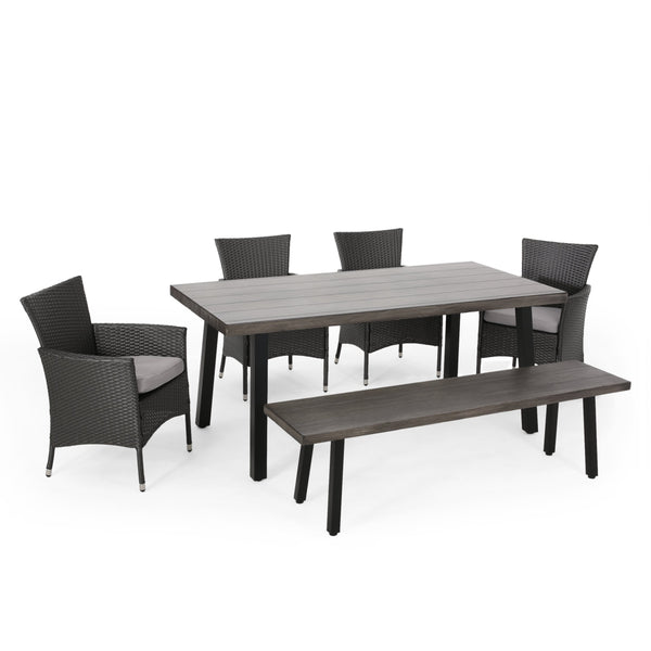 Outdoor 6 Piece Aluminum Dining Set with Bench - NH350313
