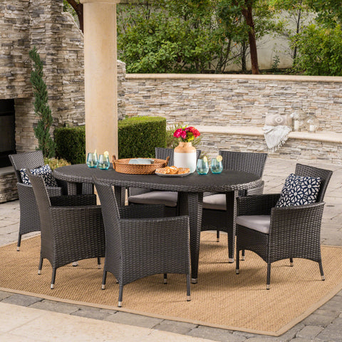 Outdoor 7 Piece Gray Wicker Oval Dining Set with Silver Water Resistant Cushions - NH946203