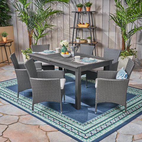 Outdoor Wood and Wicker Expandable Dining Set - NH354503