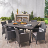 Outdoor 9 Piece Grey Wicker Square Dining Set with Silver Water Resistant Cushions - NH719303