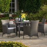 Outdoor 5-Piece Gray Wicker Dining Set with Gray Cushions - NH786692