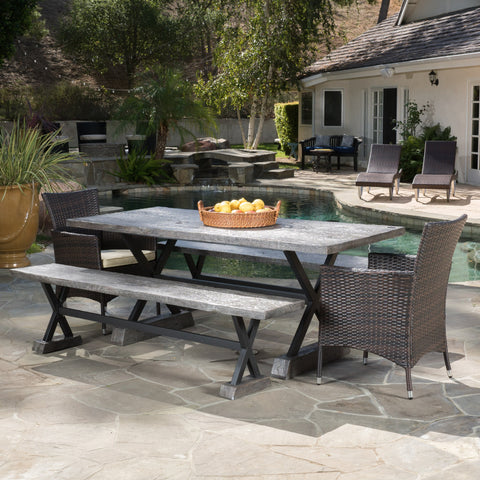 Outdoor 5 Piece Lightweight Concrete Dining Set with Benches - NH219592